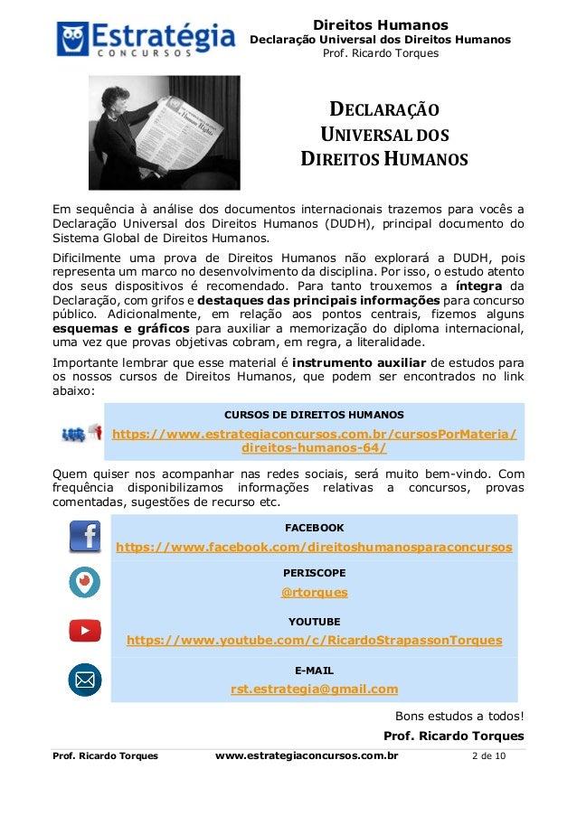 Direitos Humanos Declaração Universal dos Direitos Humanos Prof. Ricardo Torques Prof. Ricardo Torques www.estrategiaconcu...