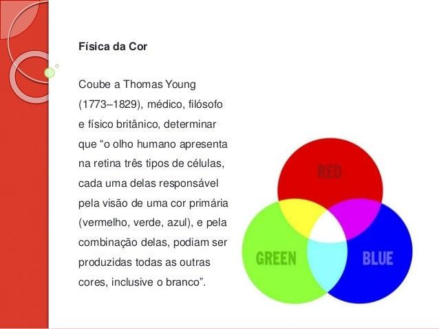 "Física da Cor Coube a Thomas Young (1773–1829), médico, filósofo e físico britânico, determinar que ""o olho humano apresen..."