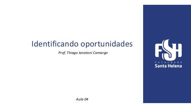 Identificando oportunidades Prof. Thiago Ianatoni Camargo Aula 04