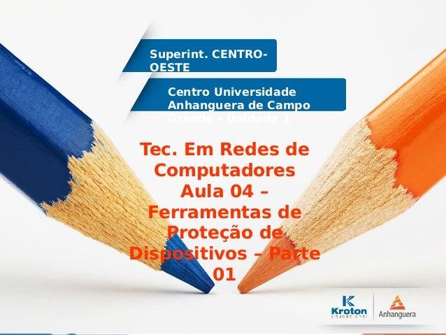 Centro Universidade Anhanguera de Campo Grande – Unidade 1 Superint. CENTRO- OESTE Tec. Em Redes de Computadores Aula 04 –...