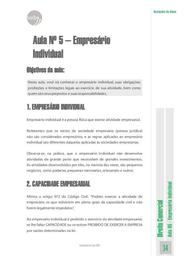DireitoComercialAula05-EmpresárioIndividual34Faculdade On-Line UVBAnotações do AlunouvbAula Nº 5 – EmpresárioIndividualObj...
