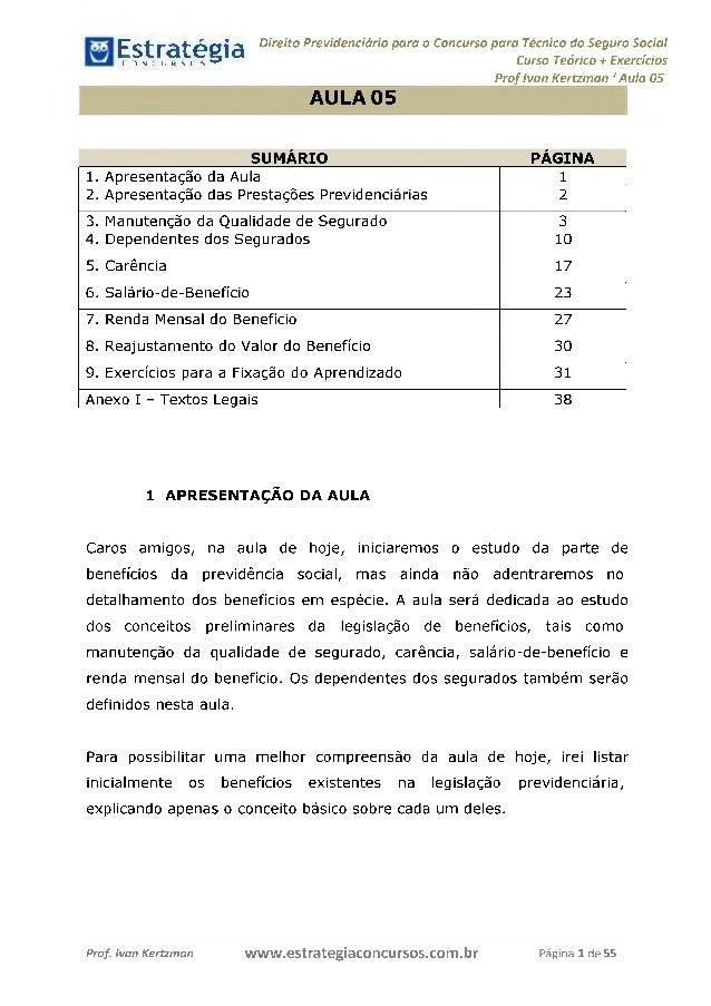 Estratégia[ O N C Ü R 5 O í * * 1 Direito Previdenciário para o Concurso para Técnico do Seguro Social Curso Teórico + Exe...