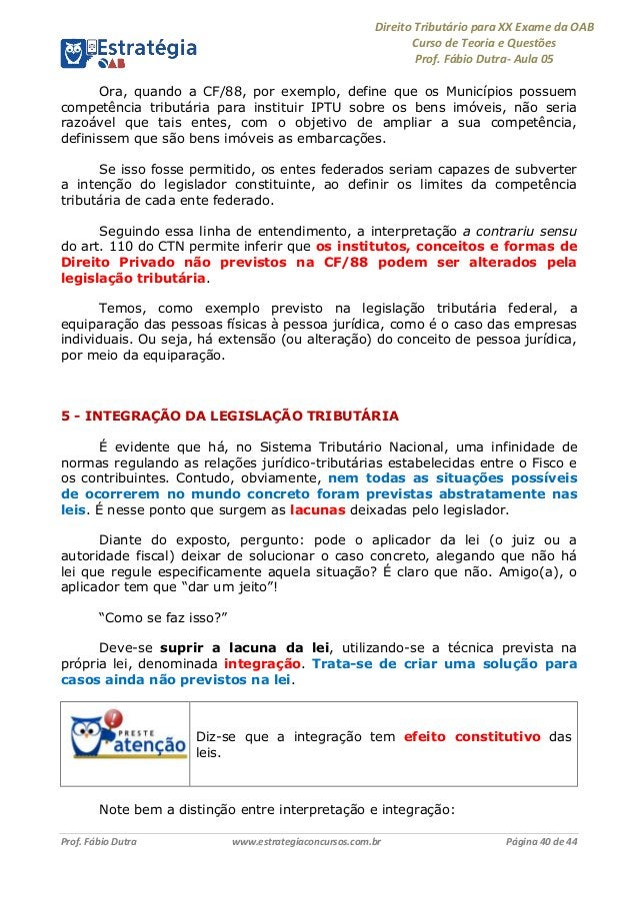 Direito Tributário para XX Exame da OAB Curso de Teoria e Questões Prof. Fábio Dutra- Aula 05 Prof. Fábio Dutra www.estrat...