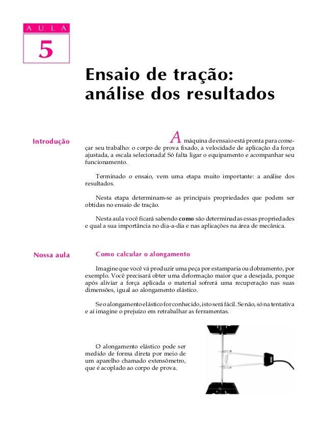 A UA U L A     L A     5  5              Ensaio de tração:              análise dos resultados Introdução                 ...