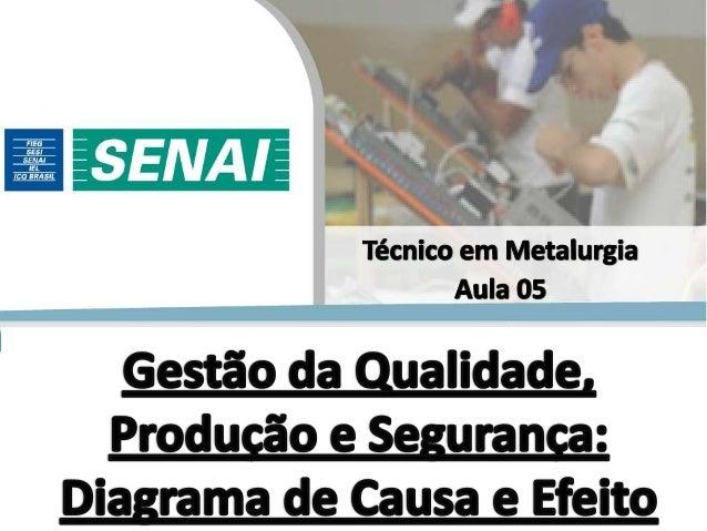 Prof. Brenno Ferreira de Souza – Engenheiro Metalúrgico Introdução  O Diagrama de Causa e Efeito é também conhecido como ...