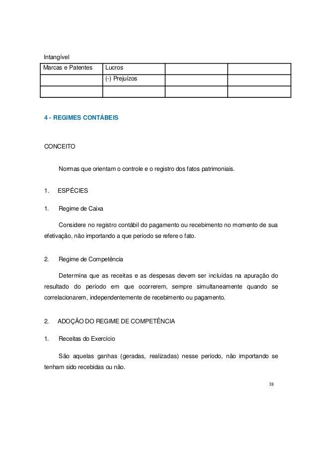 Intangível 4 - REGIMES CONTÁBEIS CONCEITO Normas que orientam o controle e o registro dos fatos patrimoniais. 1. ESPÉCIES ...