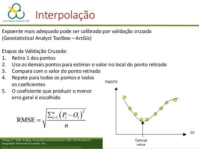 Interpolação Polinômios – Superfícies de tendência • Pode ser estimado para além da área amostrada o Quanto mais longe da ...