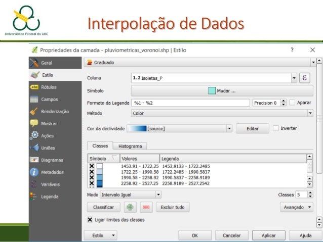 """Interpolação de Dados • Abra o arquivo """"pluviometricas_tin_shp"""" • Clique com o botão direito na camada e selecione """"Propri..."""