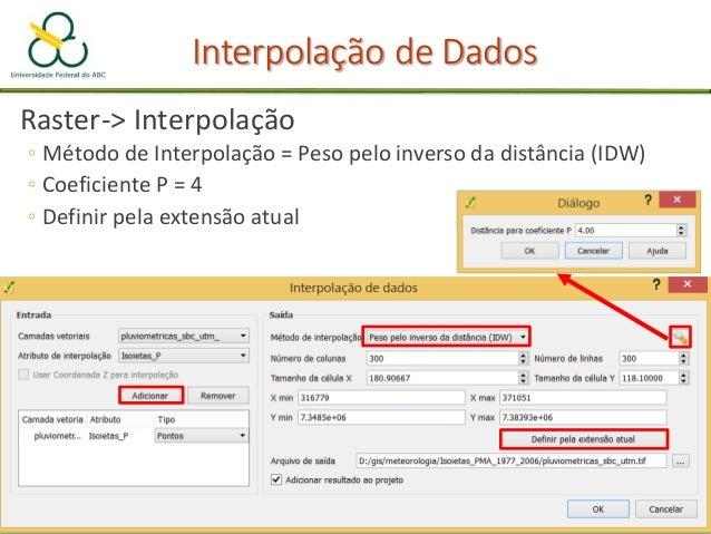 "Prática de Interpolação • ""Points"" -> ""Pluviométricas_sbc_utm"" • ""Attribute"" -> ""Isoietas_P"" • ""Polynom"" -> ""Simple planar..."