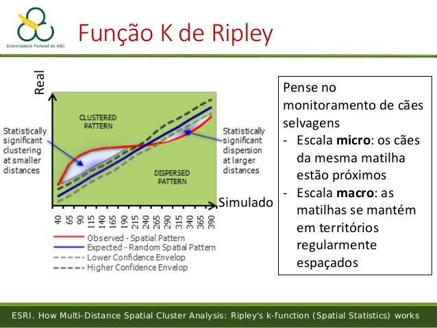 Função K de Ripley ESRI. How Multi-Distance Spatial Cluster Analysis: Ripley's k-function (Spatial Statistics) works Simul...