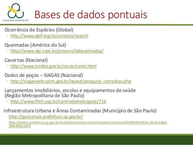 Bases de dados pontuais Ocorrência de Espécies (Global) ◦ http://www.gbif.org/occurrence/search Queimadas (América do Sul)...