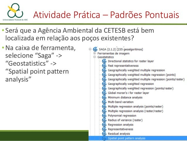 Atividade Prática – Padrões Pontuais • Avalie a localização da CETESB em relação aos poços Centro Médio CETESB