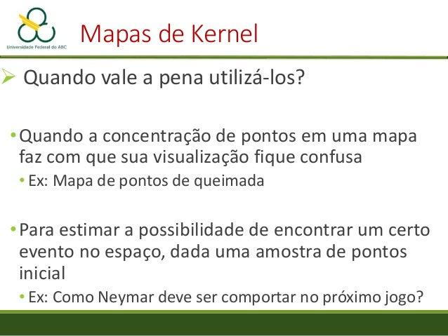 Mapas de Kernel Pixel do raster peso do ponto para o pixel do raster Ponto distância do do pixel do raster até o ponto