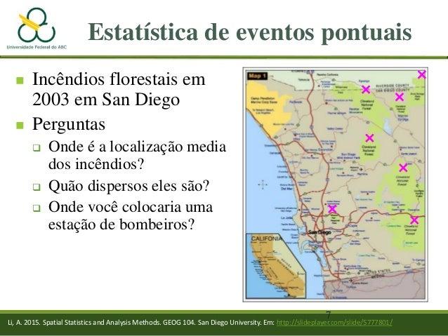 7 Estatística de eventos pontuais  Incêndios florestais em 2003 em San Diego  Perguntas  Onde é a localização media dos...