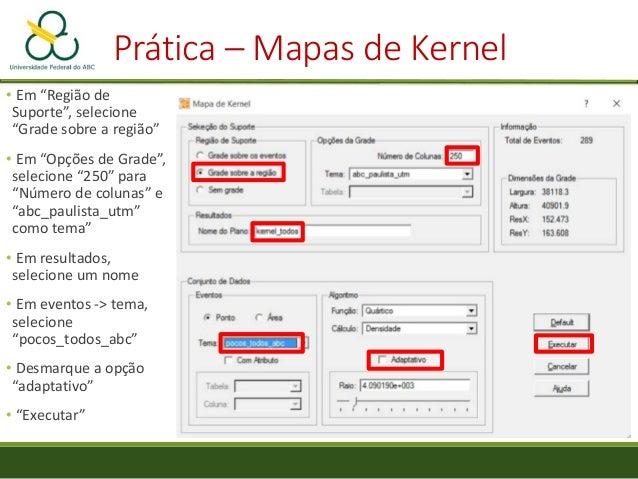 """Prática – Mapas de Kernel • Visualização • Repita o procedimento com um raio de """"2e+003"""", """"8e+003"""" e adaptativo, com difer..."""