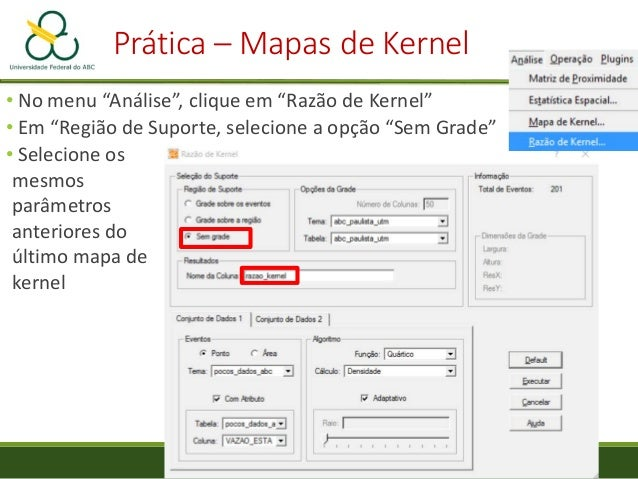 Prática – Mapas de Kernel Visualização do mapa de Razão de Kernel