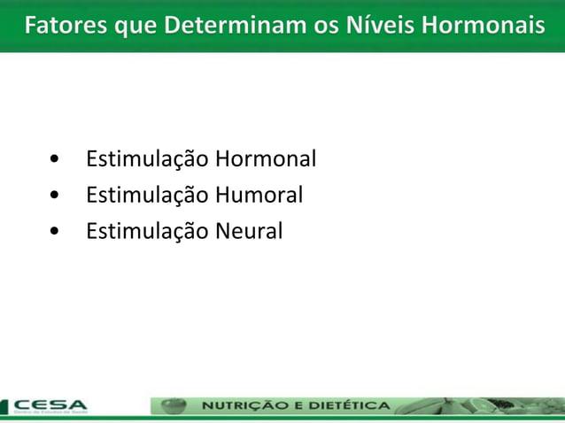 • Estimulação Hormonal • Estimulação Humoral • Estimulação Neural