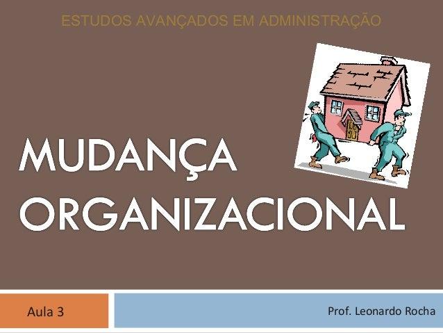 ESTUDOS AVANÇADOS EM ADMINISTRAÇÃO Prof. Leonardo RochaAula 3
