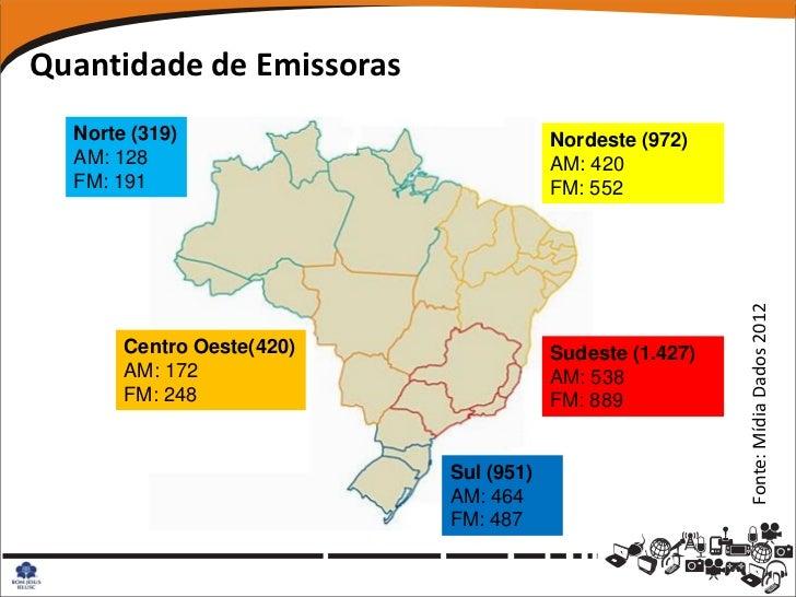 Quantidade de Emissoras  Norte (319)                          Nordeste (972)  AM: 128                              AM: 420...
