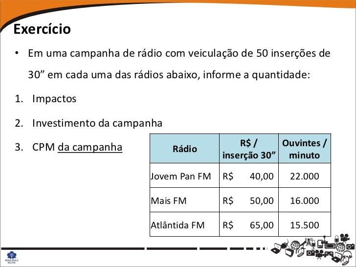 """Exercício• Em uma campanha de rádio com veiculação de 50 inserções de  30"""" em cada uma das rádios abaixo, informe a quanti..."""