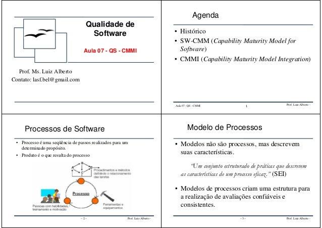 Qualidade de Software Aula 07 - QS - CMMI Prof. Ms. Luiz Alberto Contato: lasf.bel@gmail.com Prof. Luiz Alberto -Aula 07 -...