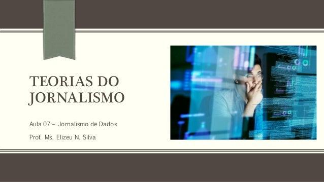TEORIAS DO JORNALISMO Aula 07 – Jornalismo de Dados Prof. Ms. Elizeu N. Silva