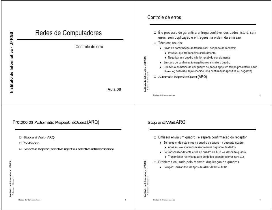 Controle de erros                                                                                 Redes de Computadores   ...
