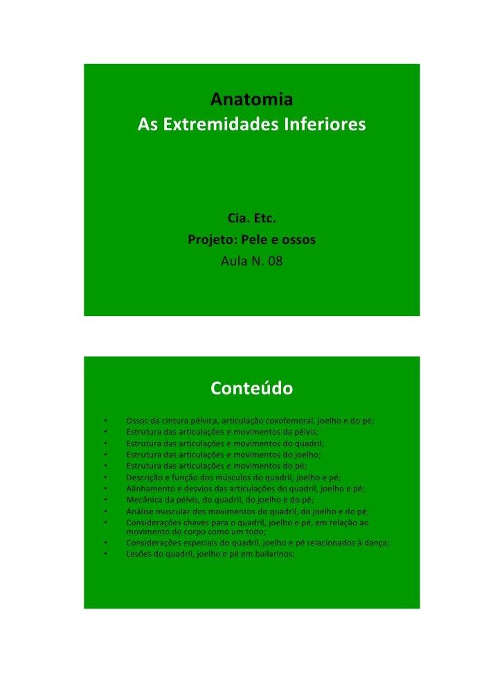 21/1/2011              Anatomia      As Extremidades Inferiores                          Cia. Etc.                    Proj...