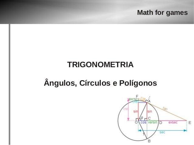 Math for games  TRIGONOMETRIA  Ângulos, Círculos e Polígonos