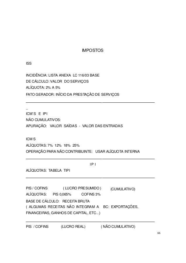 IMPOSTOS ISS INCIDÊNCIA: LISTA ANEXA LC 116/03 BASE DE CÁLCULO: VALOR DO SERVIÇOS ALÍQUOTA: 2% A 5% FATO GERADOR: INÍCIO D...