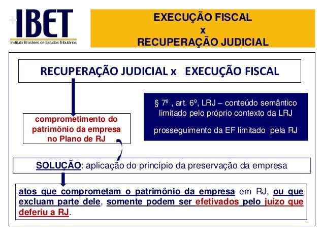 +  EXECUÇÃO FISCAL x RECUPERAÇÃO JUDICIAL  RECUPERAÇÃO JUDICIAL x EXECUÇÃO FISCAL  comprometimento do patrimônio da empres...