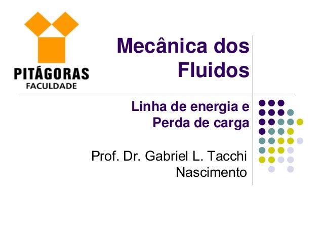 Mecânica dos Fluidos Linha de energia e Perda de carga Prof. Dr. Gabriel L. Tacchi Nascimento