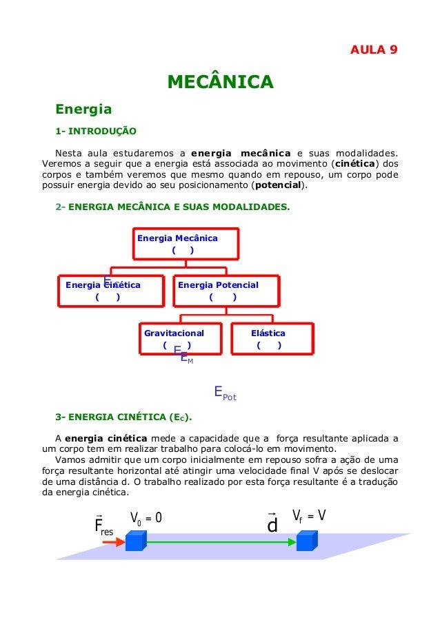 AULA 9  MECÂNICA Energia 1- INTRODUÇÃO Nesta aula estudaremos a energia mecânica e suas modalidades. Veremos a seguir que ...