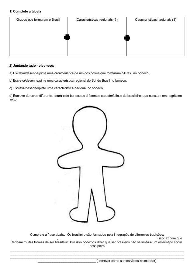 1) Complete a tabela Grupos que formaram o Brasil  Características regionais (3)  Características nacionais (3)  2) Juntan...