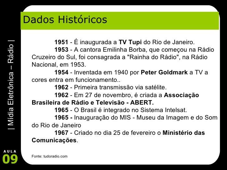 Dados Históricos 1951  - É inaugurada a  TV Tupi  do Rio de Janeiro.   1953  - A cantora Emilinha Borba, que começo...