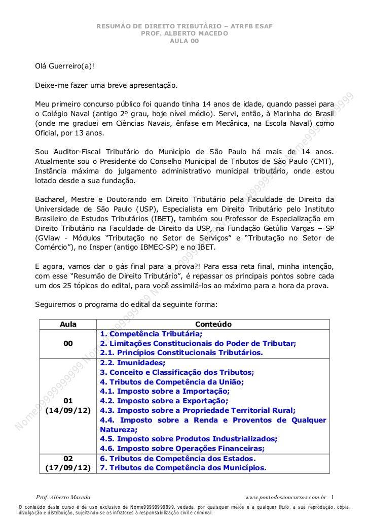 Nome99999999999                               RESUMÃO DE DIREITO TRIBUTÁRIO – ATRFB ESAF                                  ...