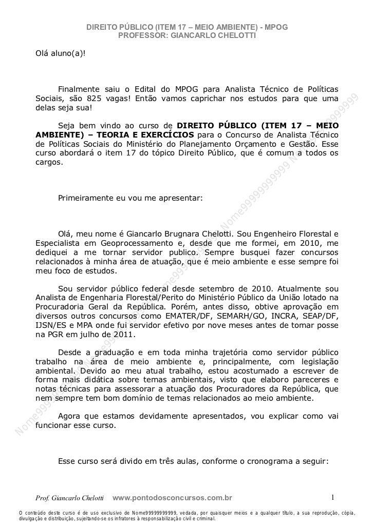 Nome99999999999                           DIREITO PÚBLICO (ITEM 17 – MEIO AMBIENTE) - MPOG                                ...