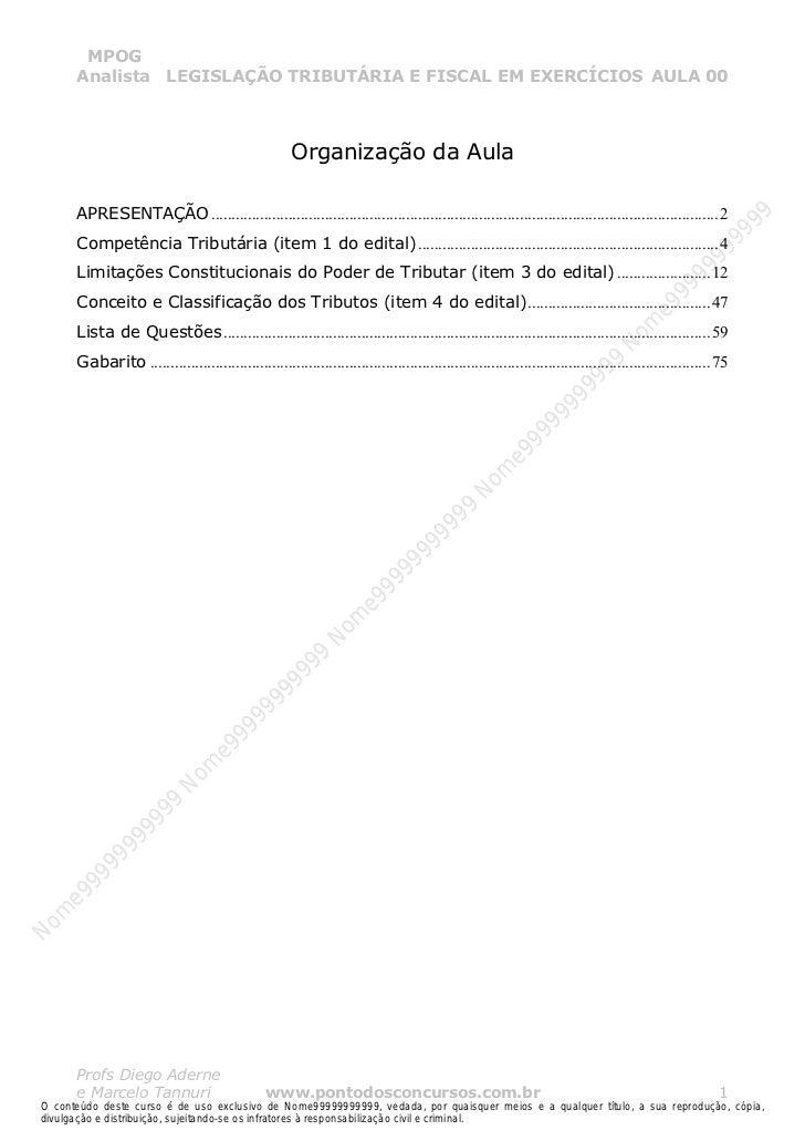 Nome99999999999        MPOG       Analista LEGISLAÇÃO TRIBUTÁRIA E FISCAL EM EXERCÍCIOS AULA 00                           ...