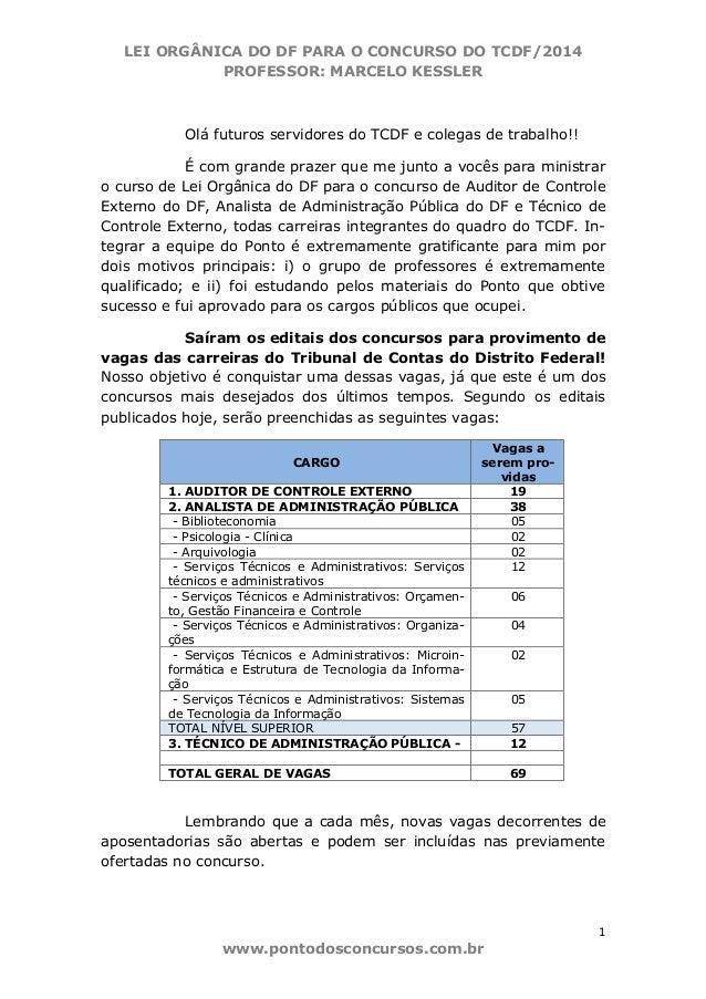 LEI ORGÂNICA DO DF PARA O CONCURSO DO TCDF/2014 PROFESSOR: MARCELO KESSLER 1 www.pontodosconcursos.com.br Olá futuros serv...