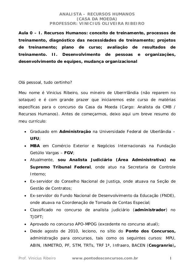 ANALISTA – RECURSOS HUMANOS  (CASA DA MOEDA)  PROFESSOR: VINICIUS OLIVEIRA RIBEIRO  Aula 0 – I. Recursos Humanos: conceito...