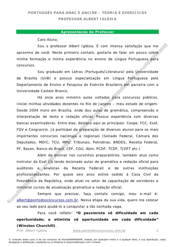Nome99999999999                   PORTUGUÊS PARA ANAC E ANCINE – TEORIA E EXERCÍCIOS                                      ...