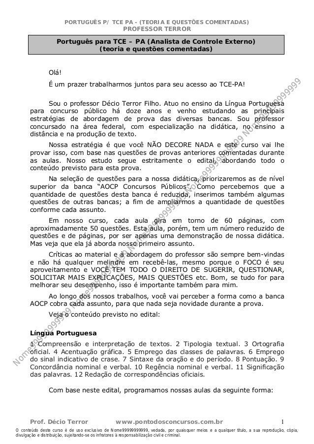 Nome99999999999  PORTUGUÊS P/ TCE PA - (TEORIA E QUESTÕES COMENTADAS)  PROFESSOR TERROR  Português para TCE – PA (Analista...