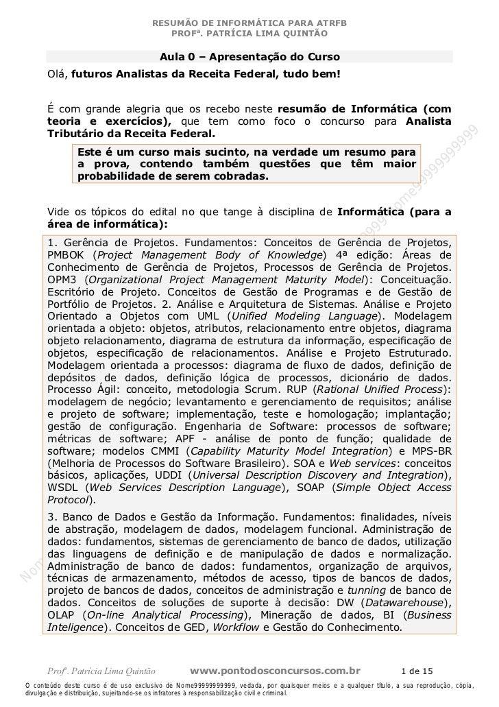 Nome99999999999                                      RESUMÃO DE INFORMÁTICA PARA ATRFB                                    ...