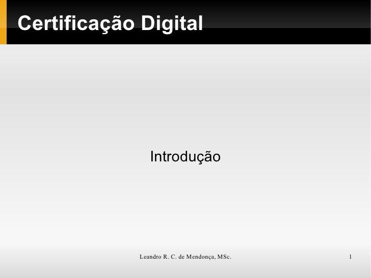 Certificação Digital Introdução