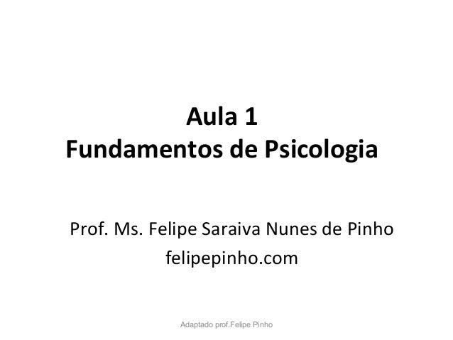 Aula 1 Fundamentos de Psicologia Prof. Ms. Felipe Saraiva Nunes de Pinho felipepinho.com Adaptado prof.Felipe Pinho