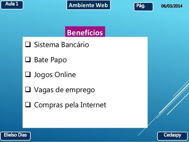 Aula 1 Ambiente Web  Pág. 06/03/2014  Benefícios   Sistema Bancário   Bate Papo   Jogos Online   Vagas de emprego   C...
