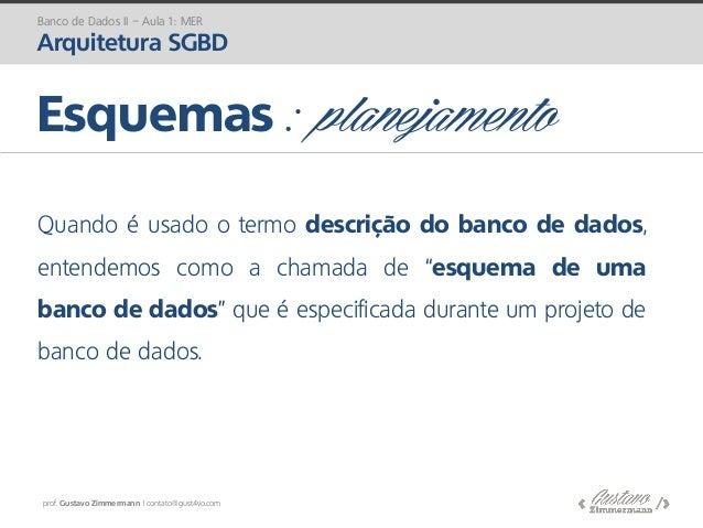 prof. Gustavo Zimmermann | contato@gust4vo.com Esquemas : planejamento Quando é usado o termo descrição do banco de dados,...