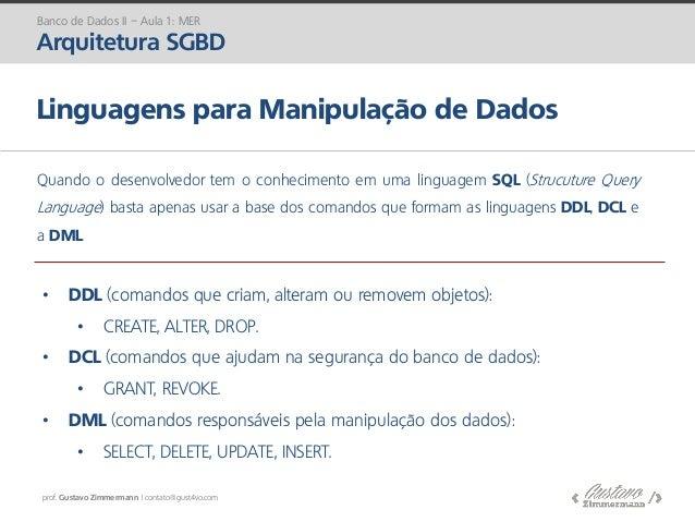 prof. Gustavo Zimmermann | contato@gust4vo.com Linguagens para Manipulação de Dados Quando o desenvolvedor tem o conhecime...
