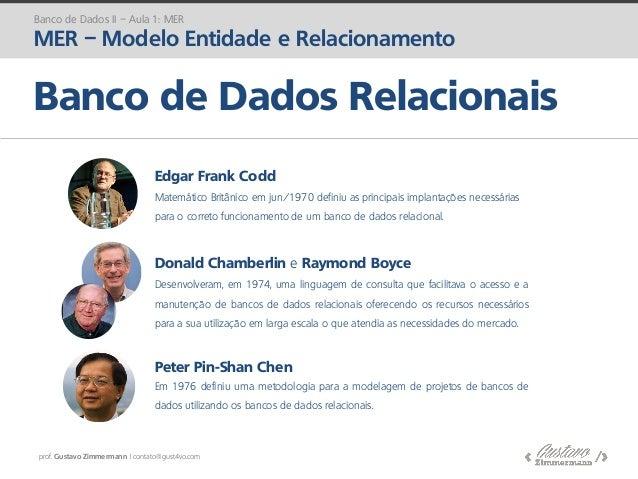 prof. Gustavo Zimmermann | contato@gust4vo.com Banco de Dados II – Aula 1: MER MER – Modelo Entidade e Relacionamento Banc...