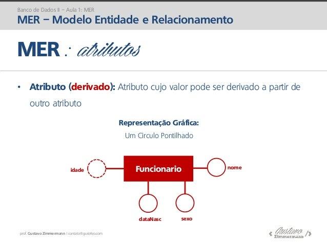 prof. Gustavo Zimmermann | contato@gust4vo.com • Atributo (derivado): Atributo cujo valor pode ser derivado a partir de ou...